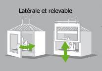 Cheminée avec porte latérale ou porte relevable (escamotable, guillotine)